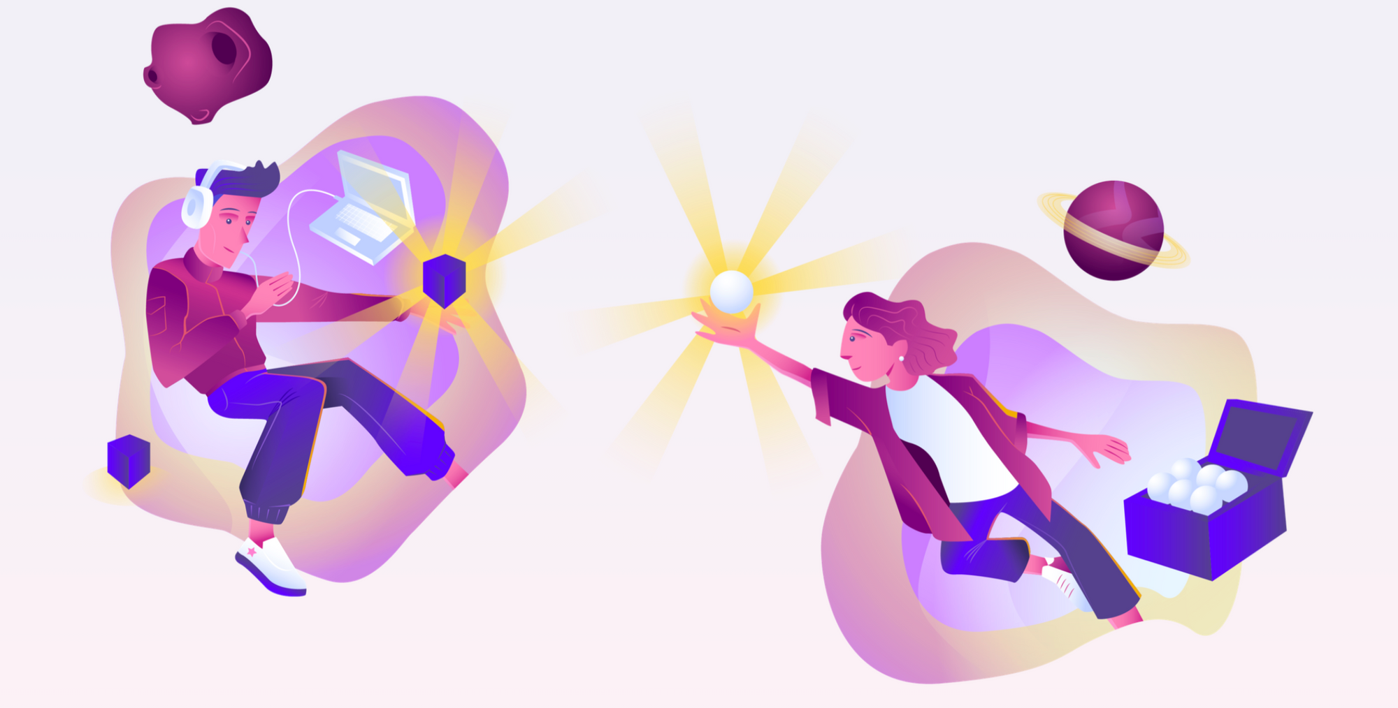 Abstract illustration of a two people. A man at a computer holding a glowing cube, and a woman holding a glowing ball they have taken from a box.