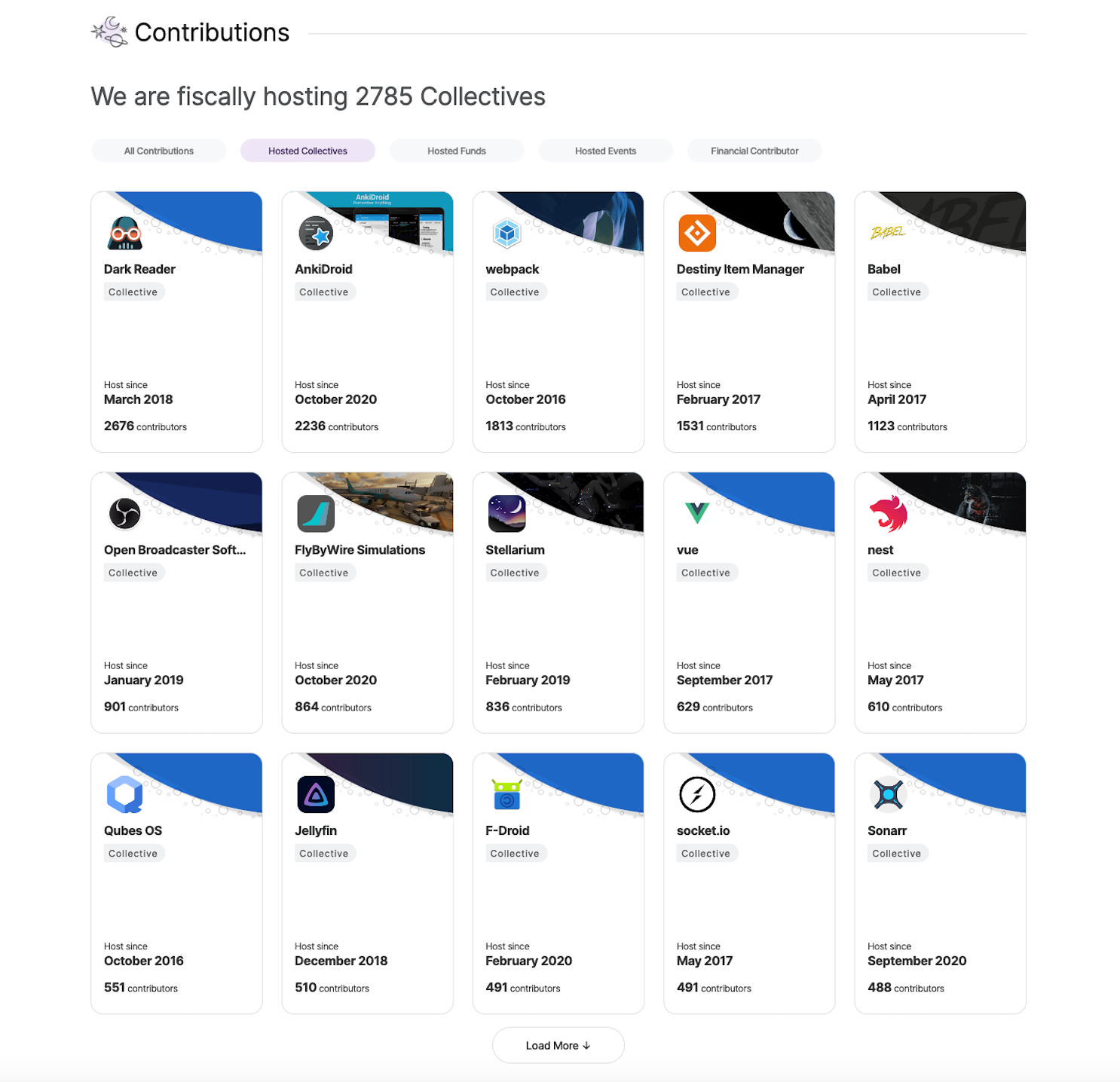 A screenshot of the Open Source Collective host page: we are fiscally hosting 2785 collectives. A selection of collectives hosted by Open Source Collective, including Dark Reader, Webpack, and Vue.js