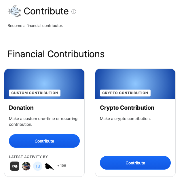 Close up of contribute section showing of Collective page, showing Donatation Tier and new 'Crypto Contribution' tier.