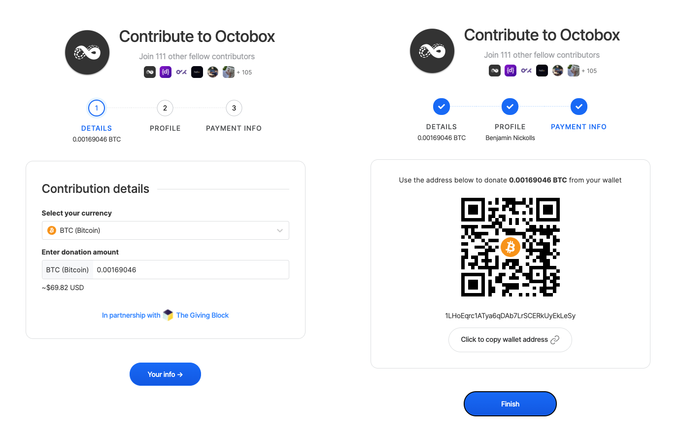 Image showing process for dontating cryptocurrency. Screen left shows a contribution to the Octobox Collective in progress. Screen right shows payment information including a wallet address.